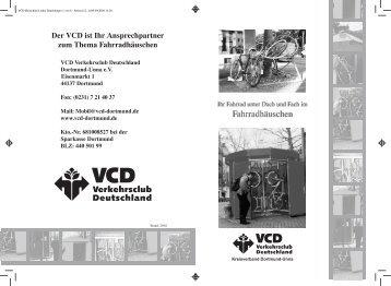 Der VCD ist Ihr Ansprechpartner zum Thema Fahrradhäuschen