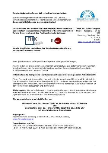 1 BundesDekaneKonferenz Wirtschaftswissenschaften - IV Salzburg