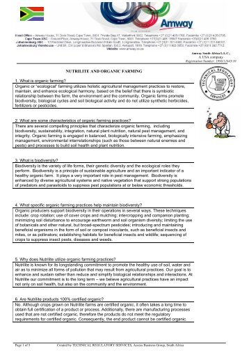 Nutrilite's organic farming - Amway Wiki