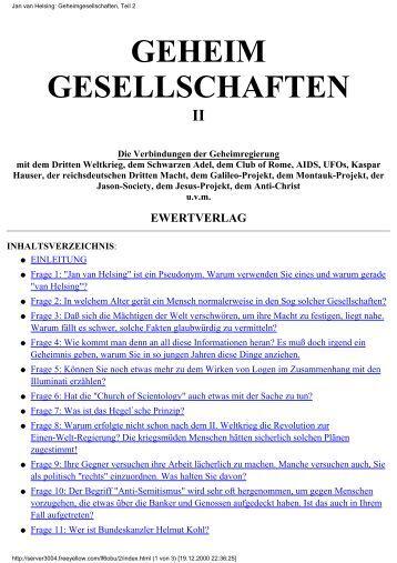 Jan van Helsing: Geheimgesellschaften, Teil 2 - homo sapiens