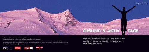 GESUND & AKTIV TAGE - Kompetenznetzwerk Gesundheit Osttirol