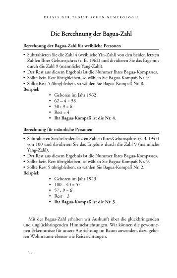 Die Berechnung der Bagua-Zahl