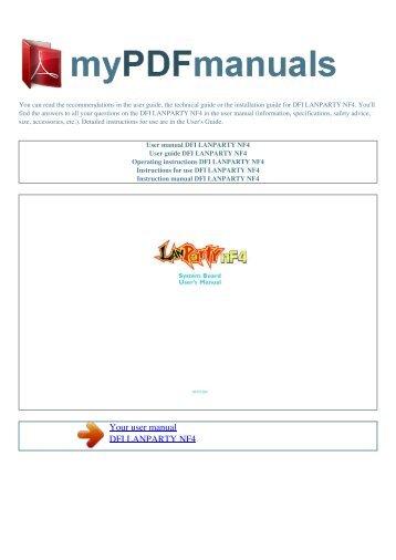 User manual DFI LANPARTY NF4 - 1