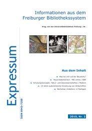 18. März 2010 - Bericht zum Schwerpunkt - Universitätsbibliothek ...