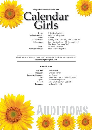 The Calendar Girls Team. - Court Theatre at Pendley Tring