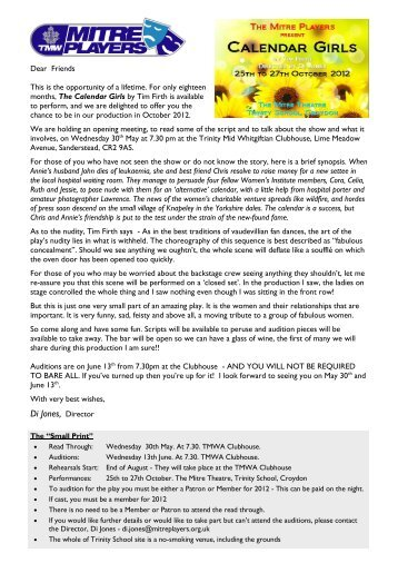 Calendar Girls Audition Letter and Character List (.pdf - SharePoint