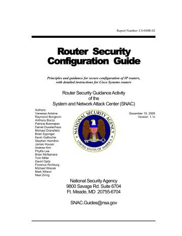 Router Security Configuration Guide 1.1c - National Security Agency