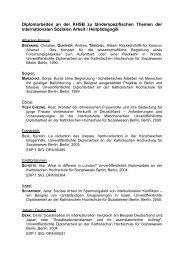 Diplomarbeiten an der KHSB zu länderspezifischen Themen der ...