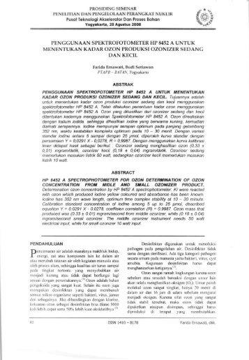 PENGGUNAAN SPEKTROFOTOMETER HP 8452 ... - DIGILIB BATAN