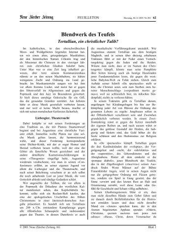 Blendwerk des Teufels Tertullian, ein christlicher Talib? - Kirchen.ch