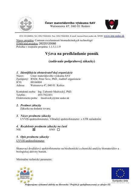 Výzva na predkladanie ponúk - Ústav materiálového výskumu SAV 5d71504513f