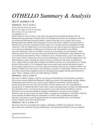 Othello: A Summary of Salient Points Andrew Lin AP English Mrs ...