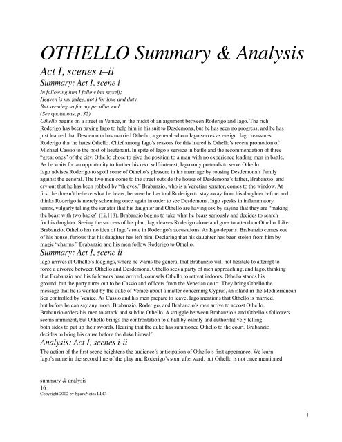 Othello Summary from Spark Notes - tpsdrama11student - home