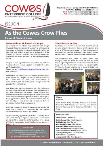 ISSUE 1 As the Cowes Crow Flies Parent & Student News
