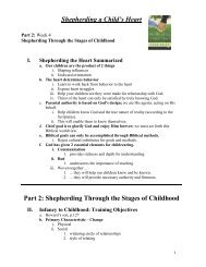 Shepherding a Child's Heart Part 2: Shepherding ... - Sunset Church!