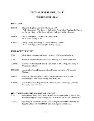 Curriculum Vitae - Art History - University of Wisconsin-Madison