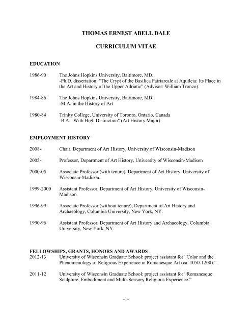 Curriculum Vitae - Art History - University of Wisconsin-Madison on art paintings, art thank you letters, art best resume, art writing, art recommendation letter, art address, art profile,