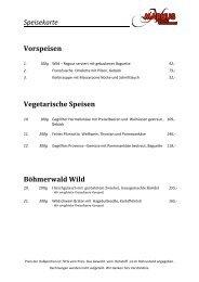 Speisekarte Vorspeisen Vegetarische Speisen ... - Lipno-Markus.