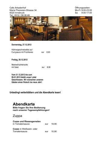 Abendkarte - Arkadenhof Innsbruck
