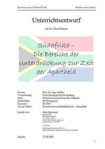 Arbeitsblatt zum WebQuest: Apartheid in Südafrika Teil ... - WebQuests