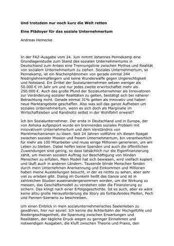 Und trotzdem nur noch kurz die Welt retten - Ashoka Deutschland