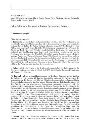 Lehrerbildung in Frankreich, Italien, Spanien und Portugal