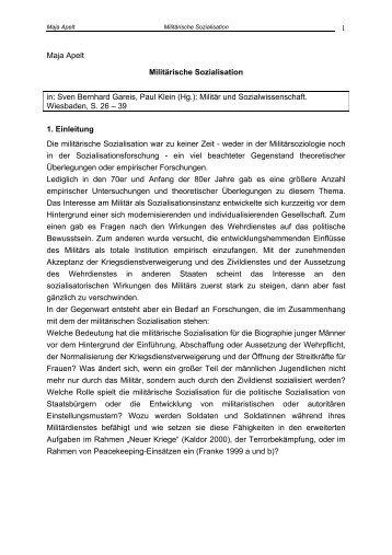 1 Maja Apelt Militärische Sozialisation in: Sven Bernhard Gareis ...