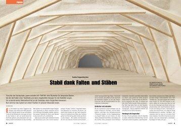 Stabil dank Falten und Stäben - Plattform Zukunft Bau