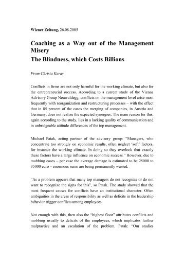 Coaching as a Way out of the Management Misery The Blindness ...