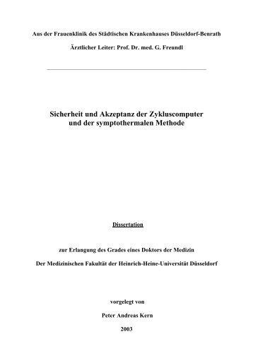 Sicherheit und Akzeptanz der Zykluscomputer - Natürliche Verhütung