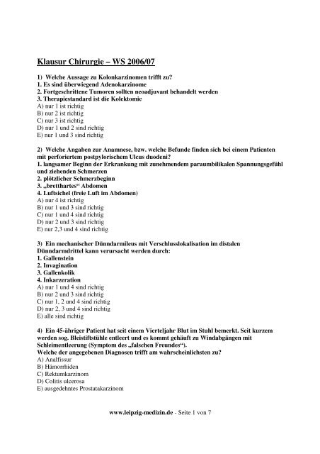 Klausur Chirurgie Ws06 07 Leipzig Medizinde