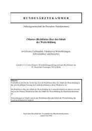 Richtlinien über den Inhalt der Weiterbildung - Bundesärztekammer
