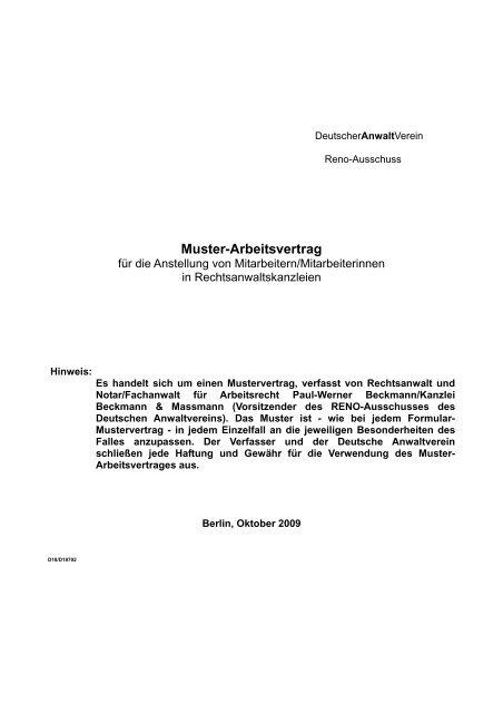 Muster Arbeitsvertrag Deutscher Anwaltverein