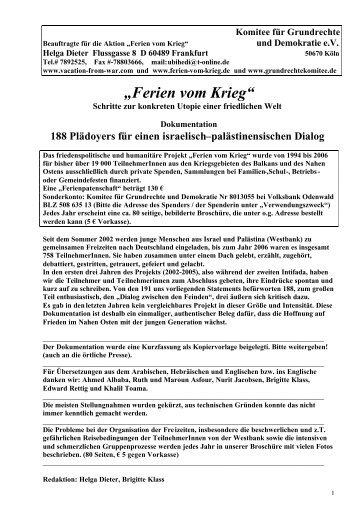 188 Plädoyers für einen israelisch ... - Ferien vom Krieg