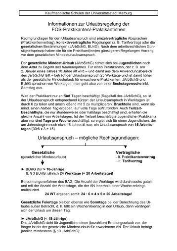 Info über FOS-Praktikum 1 (Informationen zur Urlaubsregelung