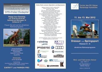 Zeiteinteilung - Turnier RV Halver - 11. bis 13. Mai 2012 - Graeffker