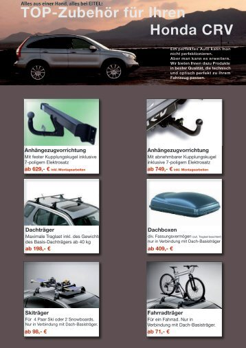 TOP-Zubehör für Ihren Honda CRV - Autohaus Eitel