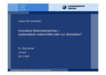 Innovative Kleinunternehmen – systematisch unterschätzt ... - NIW