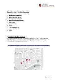 Einrichtungen der HWR Berlin - MBA Programme der HWR Berlin