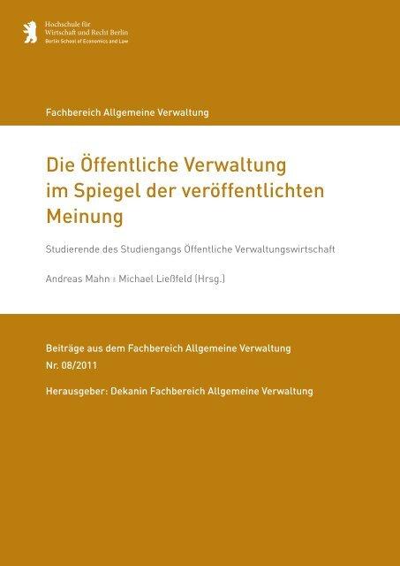 Die Öffentliche Verwaltung im Spiegel der ... - HWR Berlin