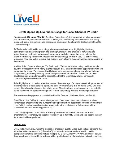LiveU Opens Up Live Video Usage for Local Channel TV Berlin