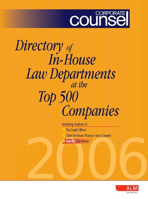 Directory of In-House Law Departments Top 500 Companies