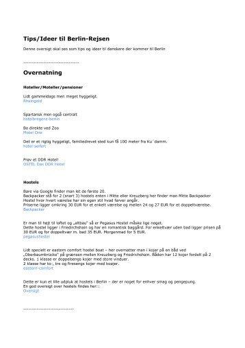 Tips/Ideer til Berlin-Rejsen Overnatning - 123berlin.dk
