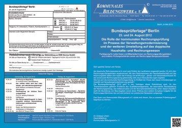 Bundesprüfertage® Berlin - Kommunales Bildungswerk eV