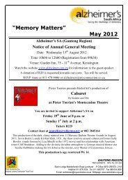 """""""Memory Matters"""" May 2012 - Alzheimer's South Africa"""