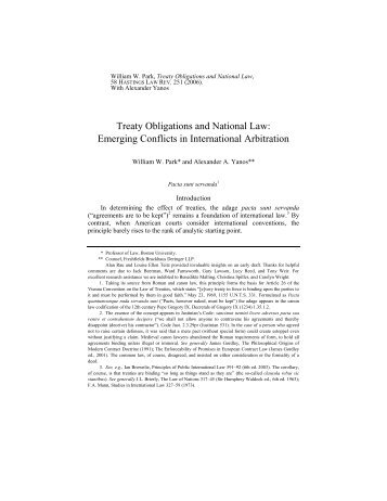 Treaty Obligations and National Law: - International Council for ...