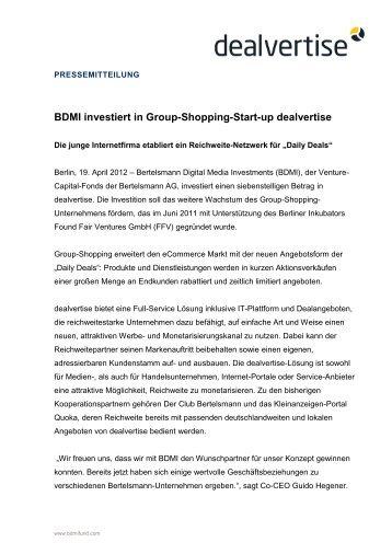 BDMI investiert in Group-Shopping-Start-up dealvertise