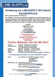 LAB-SUPPLY 2013 Berlin, Estrel Saal, Hotel Estrel Berlin