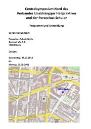 Programm des Symposiums - Verband Unabhängiger Heilpraktiker eV