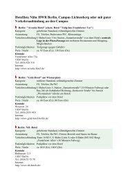 Hotelliste Nähe HWR Berlin, Campus Lichtenberg oder mit guter ...